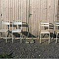 Chaises terrasse de bistrot assise perforée (4)