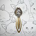 Marques -pages avec chats en métal cuivré et cabochon