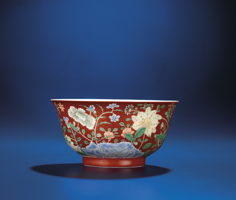 An Imperial coral-ground famille verte bowl, Yongzheng Yuzhi six-character mark within double-circles and of the period (1723-1735)