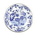 A blue and white '<b>tiger</b>' dish, Shunzhi period (1643-1661)