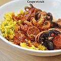 Poulpe au chorizo et riz jaune