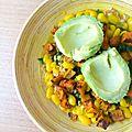 Curry de <b>haricots</b> <b>blancs</b>, chou kale et fanes de navet, patate douce rôtie