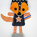 Doudou renard orange bleu marine
