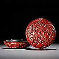 A small cinnabar-lacquer 'prunus' seal paste <b>box</b> <b>and</b> <b>cover</b>, Ming dynasty, early 15th century