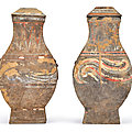 A pair of painted pottery square vases and covers, <b>hu</b>, Han dynasty (206 BC-220 AD)