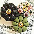 ♥ theonie ♥ broche textile japonisante fleurs potirons - les yoyos de calie