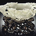 A white jade flower-form <b>water</b> <b>coupe</b>, 17th century