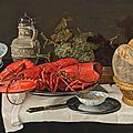 Hans van <b>Essen</b>, A Pronk Still-Life with a goblet, bread rolls, tangerines in a China bowls, lobsters on a pewter plate, grapes..