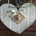 Pampille coeur carton et lin