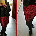 Jupe damassé rouge 02