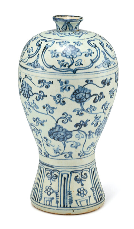 A blue and white 'Peony' vase, meiping, Ming dynasty