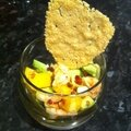 Verrine crevette, mangue, avocat