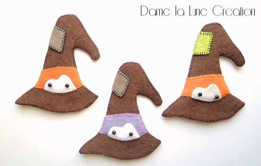 - Petits chapeaux de sorcière, Marionnettes à doigts en feutrine