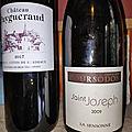 Francs-<b>Cotes</b> de <b>Bordeaux</b> : Puygueraud blanc 2017, Saint Joseph : Coursodon : La Sensonne 2009