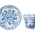 A blue and white European subject cup, cover, and stand, Kangxi period, <b>circa</b> <b>1690</b>