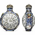 An underglaze blue <b>and</b>famille roseporcelain 'pocket watch' snuff bottle, Jingdezhen kilns, 1780-1799