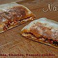 Naan philadelphia, chorizo, tomate confite