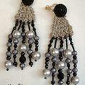 Boucles d'oreille lin et pendants de perles