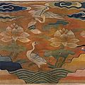 Rank badge, <b>tapestry</b> weave silk and metal-wrapped thread with a design of birds and lotus, China, Ming dynasty, 16th century