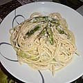 Spaghettis sauce aux asperges et à la mozzarella