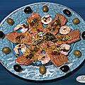 <b>Carpaccio</b> de saumon et crevettes