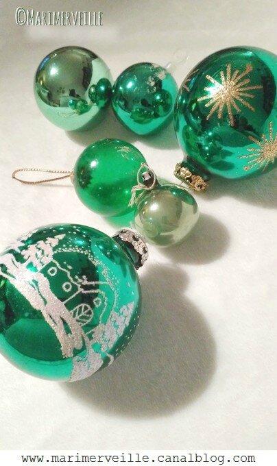 Boules de Noël vertes - Marimerveille