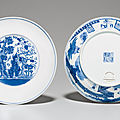 A pair of blue and white 'Three <b>Friends</b>' dishes, Daoguang seal marks in underglaze blue and of the period (1821-1850)