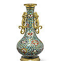 A <b>cloisonné</b> enamel and gilt bronze double-handled vase, Jingtai Mark, the vase 16th century, the mounts possibly 17th century