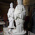 Fulbert DUBOIS sculpteur Tours 37 - Sculpture tuffeau - mise au points - statue Sainte Radegonde 2