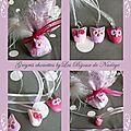 Décoration pour pochon à dragée thème hibou (ou chouette) en rose fushia et mauve