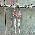 boucles d'oreilles perle unakite