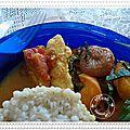 Aiguillettes de poulet aux abricots, raisins secs, coriandre, curry, menthe et orge perlé....