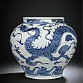 A magnificent and very rare white and blue 'dragon' jar, guan, yuan dynasty (1279-1368)