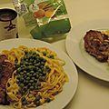 Tranches d'agneau, pâtes et petit pois