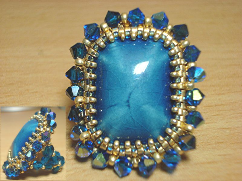 541a bague Vallauris bleue