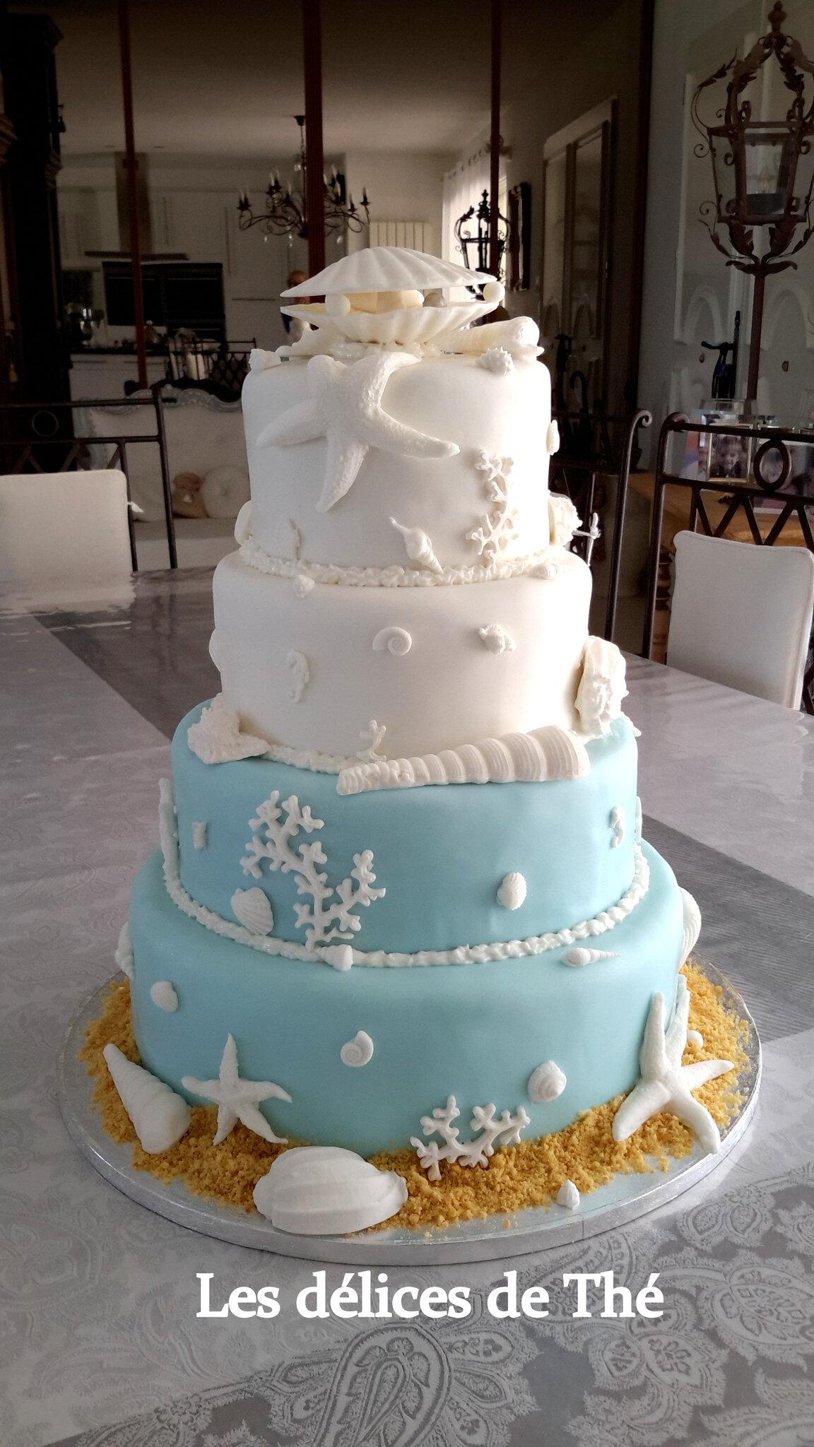 Wedding cake, Thème Coquillages