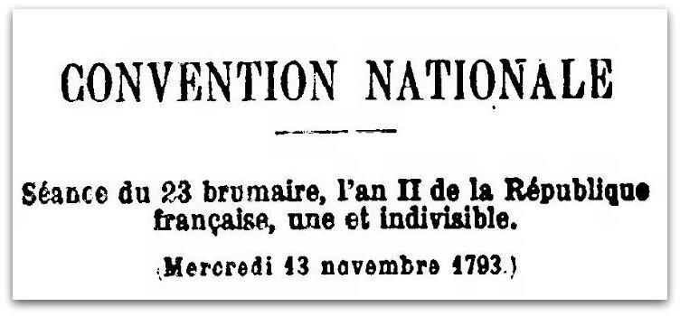 CONVENTION NATIONALE 13 NOV 1793 Z