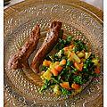 Aiguillettes de canard et légumes de saison