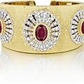 Buccellati. an important ruby and diamond gold cuff bracelet