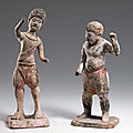 Two Painted <b>Pottery</b> Figures of Foreign Boys, Tang Dynasty (618-906)