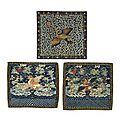 Three pairs of <b>civil</b> <b>rank</b> <b>badges</b>. Qing dynasty (1644-1911) and later