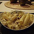 Macaroni au fromage de chévre , poulet et romarin