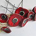 Bouquet de coquelicots en cérampique (6)
