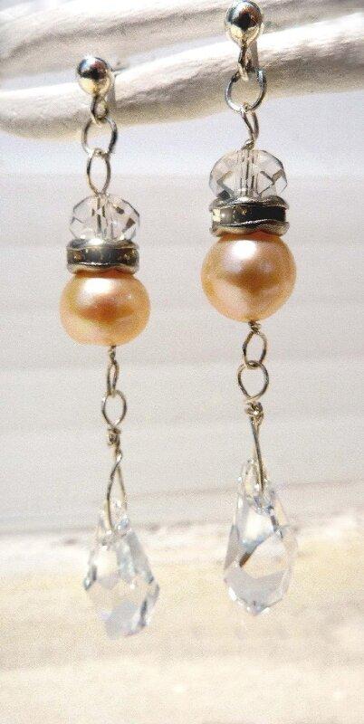 Argent, perle d'eau douce et cristal Swarovski