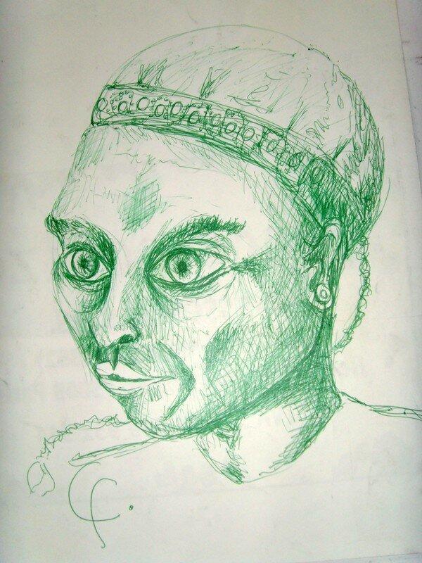 portrait stylo bille