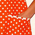 Vintage ... BLOUSE Seventies * Orange à pois blanc