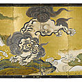 A rare six-fold painted 'Frolicking <b>lion</b>' screen, Japan, Edo period, 19th century