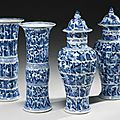 A <b>Garniture</b> Of Five Blue And White Vases. Qing Dynasty, Kangxi Period