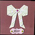 Un noeud en origami ... une <b>carte</b> de voeux tendre et féminine !