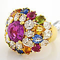 Multi-<b>Colored</b> Sapphire and Diamond Cluster Dome Ring